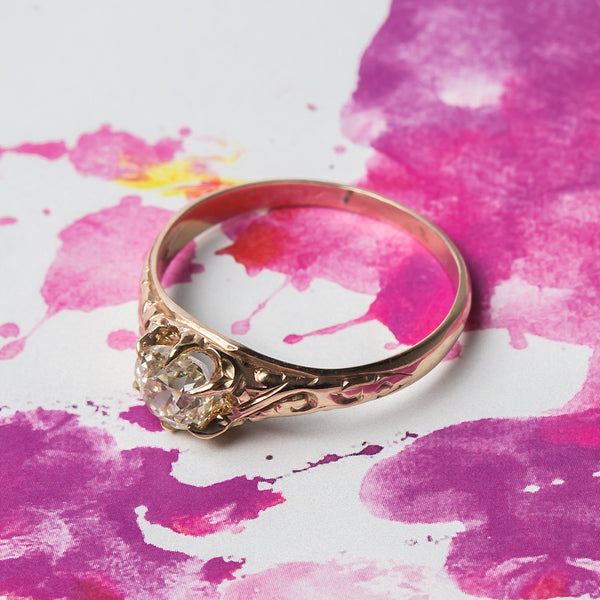 Intricate Rose Gold Victorian Era Solitaire Engagement Ring | Austell from Trumpet & Horn