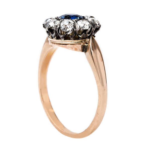 Victorian Sapphire and Old Mine Cut Diamond Halo | Bayville from Trumpet & Horn