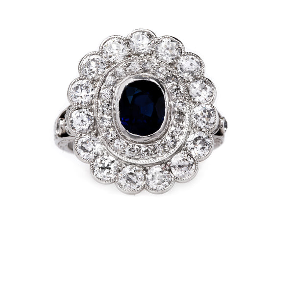 Vintage Edwardian Sapphire Halo Ring | Winterborne from Trumpet & Horn