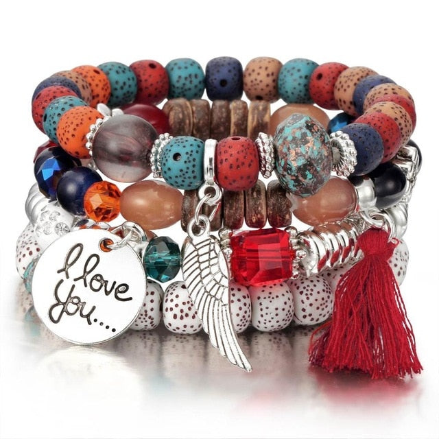 Tassel Natural Stone Charms Wristband