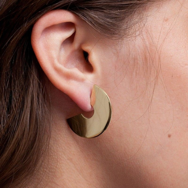 Vintage Design Geometic Semicircle Earrings