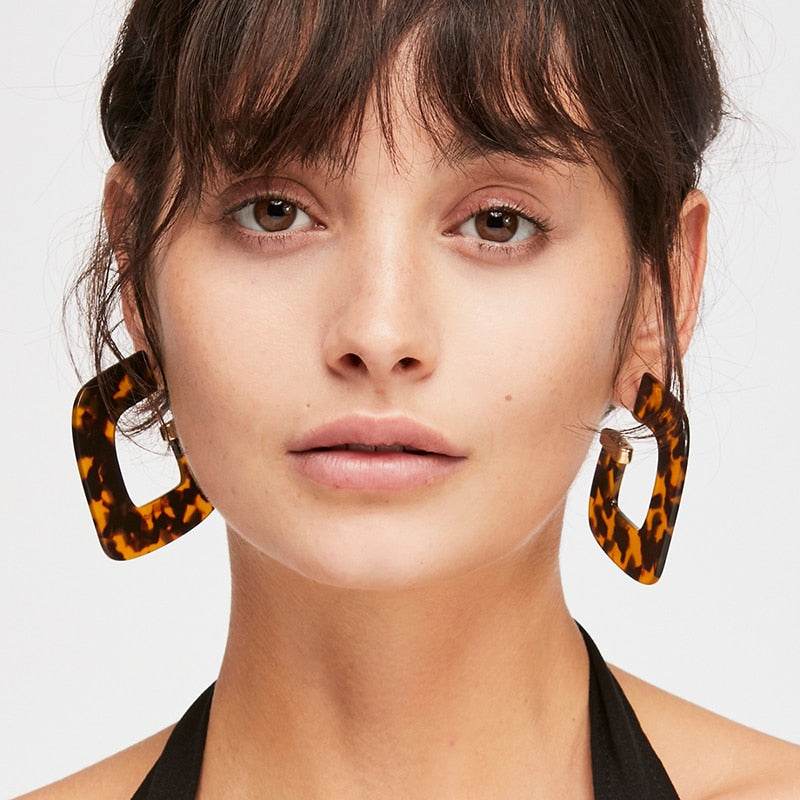 Vintage Print Resin Statement Earrings