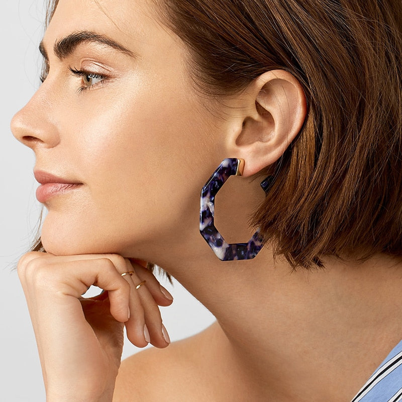 Dark Blue Statement Earrings