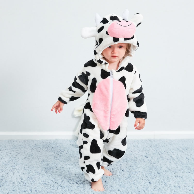 Dairy Cow Full Sleeve Hooded Romper