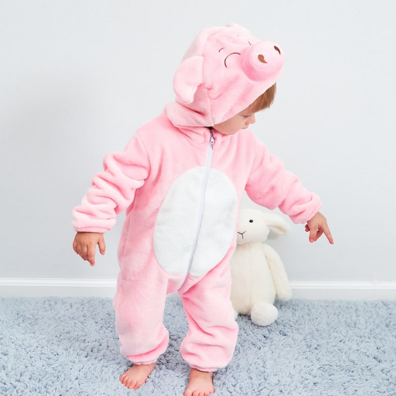 Pink Pig Full Sleeve Hooded Romper