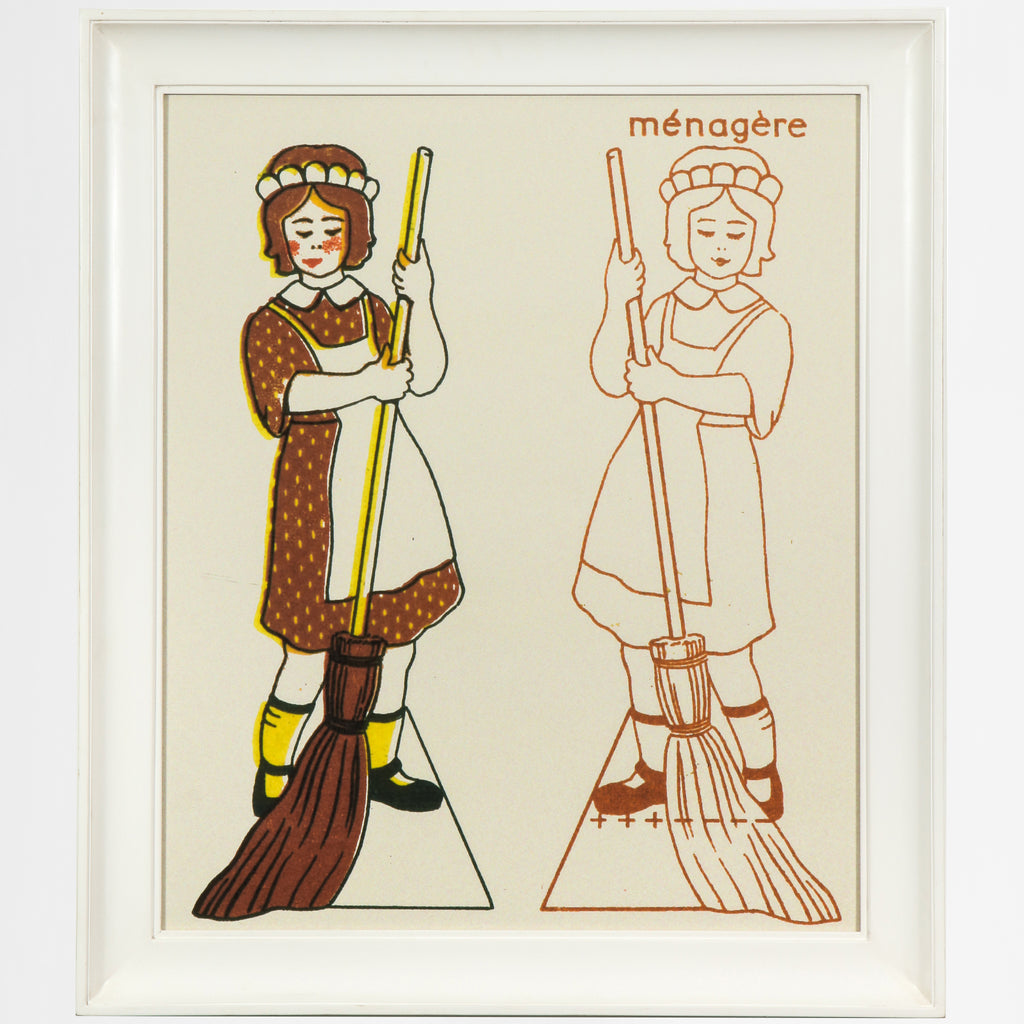 """Maid"" menagere with broom print"