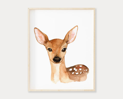 Watercolor Deer Printable Wall Art, Instant Digital Download