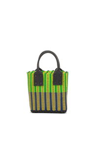 TRUSS Tube Weave Micro Tote w/ Leather Handles in Green/Blue