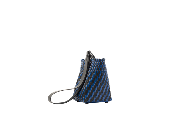 TRUSS Leather Woven Bag in Navy