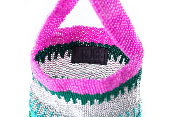 TRUSS Large Glass Bead Party Bag in Green/Pink