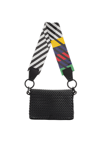 TRUSS Glass Bead Strap Baguette Handbag in Black w/Multicolor Beads