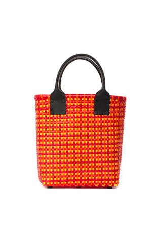 TRUSS Small Tote Leather Handle w/Pocket in Red/Yellow/Orange