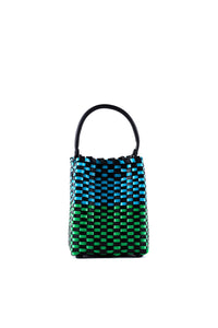 TRUSS Small Woven Leather Top Handle Trapezoid in Blue/Green