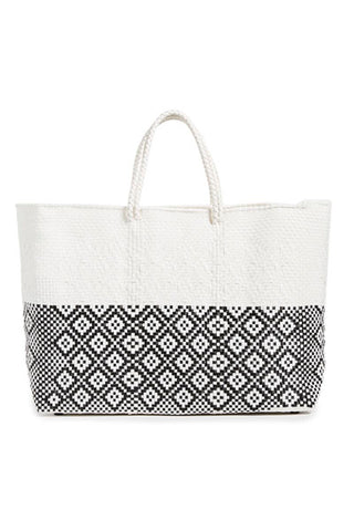TRUSS Large Tote in Half Dip White Rhombus