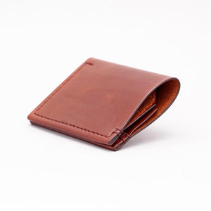 DOUBLE POCKET FOLD WALLET IN DARK BROWN
