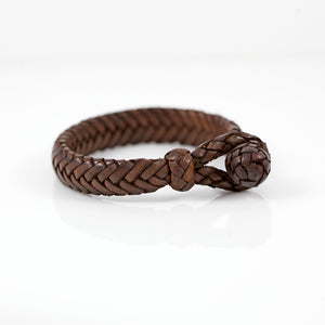 FLAT FISH BONE LEATHER BRACELET IN DARK BROWN