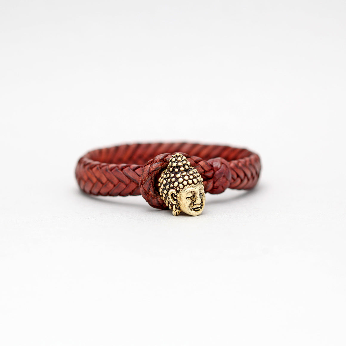 BRAIDED LEATHER BRACELET IN BROWN WITH YELLOW BRASS BUDDHA HEAD LOCK