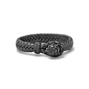 FLAT FISH BONE LEATHER BRACELET IN BLACK