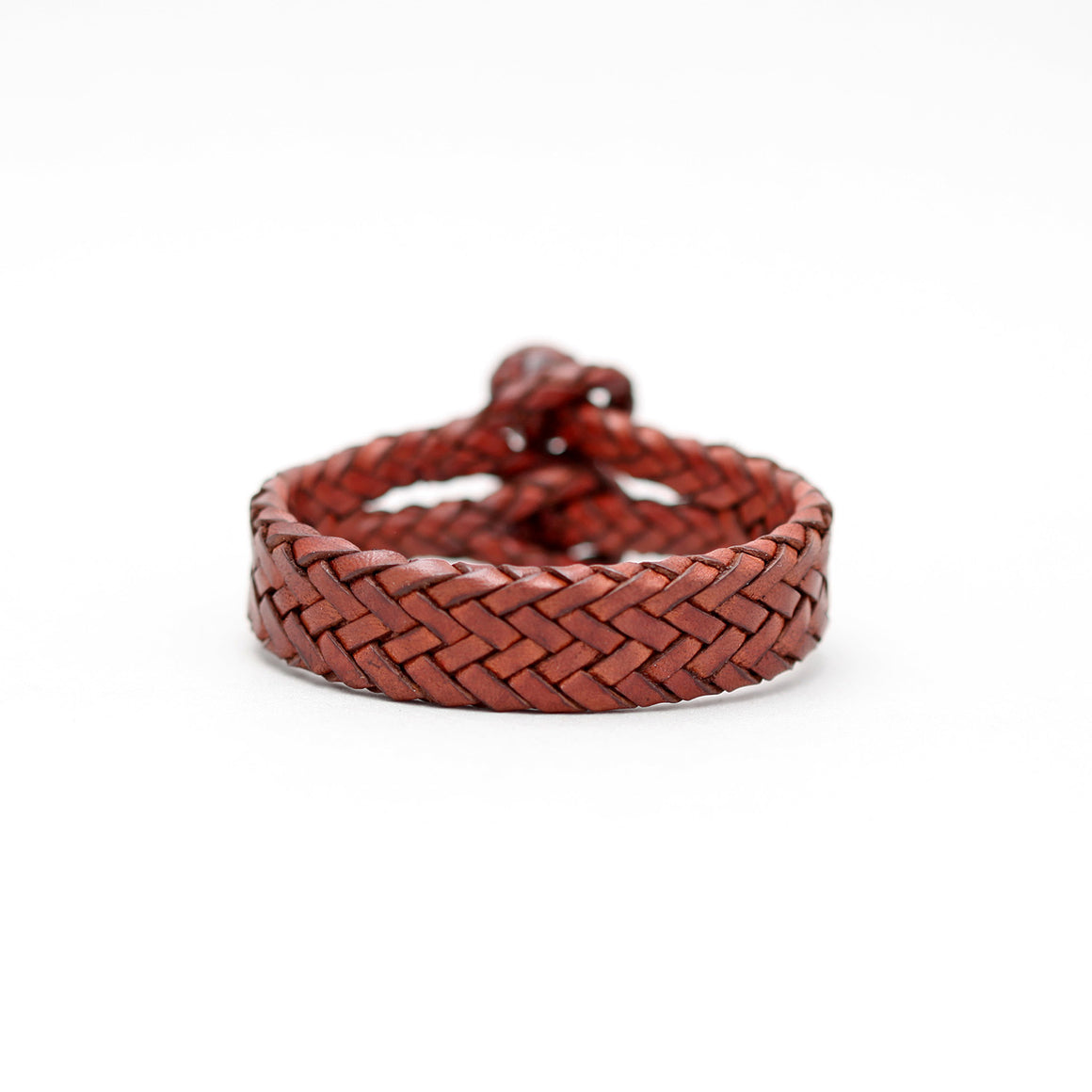 DOUBLE CLOSURE BRAIDED LEATHER BRACELET IN DARK BROWN