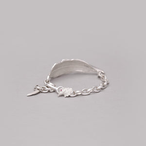 SILVER PLATED FEATHER CHAIN LINK BRACELET WITH LABRADORITE  ACCENT
