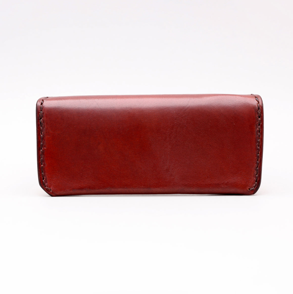 RECTANGULAR SUNGLASSES CASE IN DARK BROWN LEATHER W TOP STITCH DETAILS
