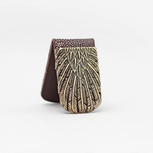YELLOW BRASS FEATHER WITH BROWN STINGRAY MONEY CLIP