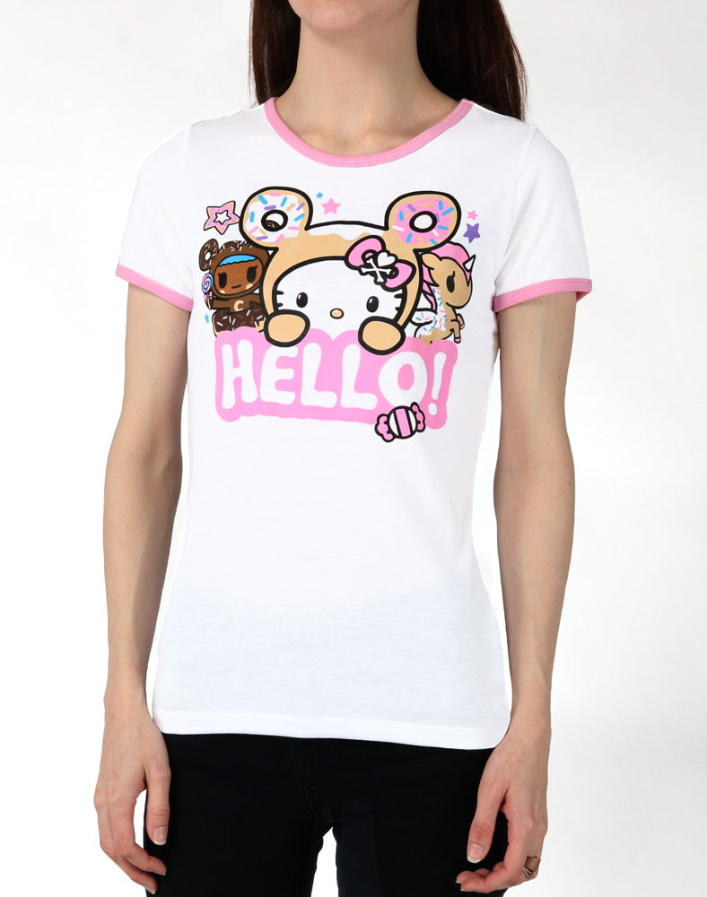 tokidoki x Hello Kitty Say Hello Ringer Tee front