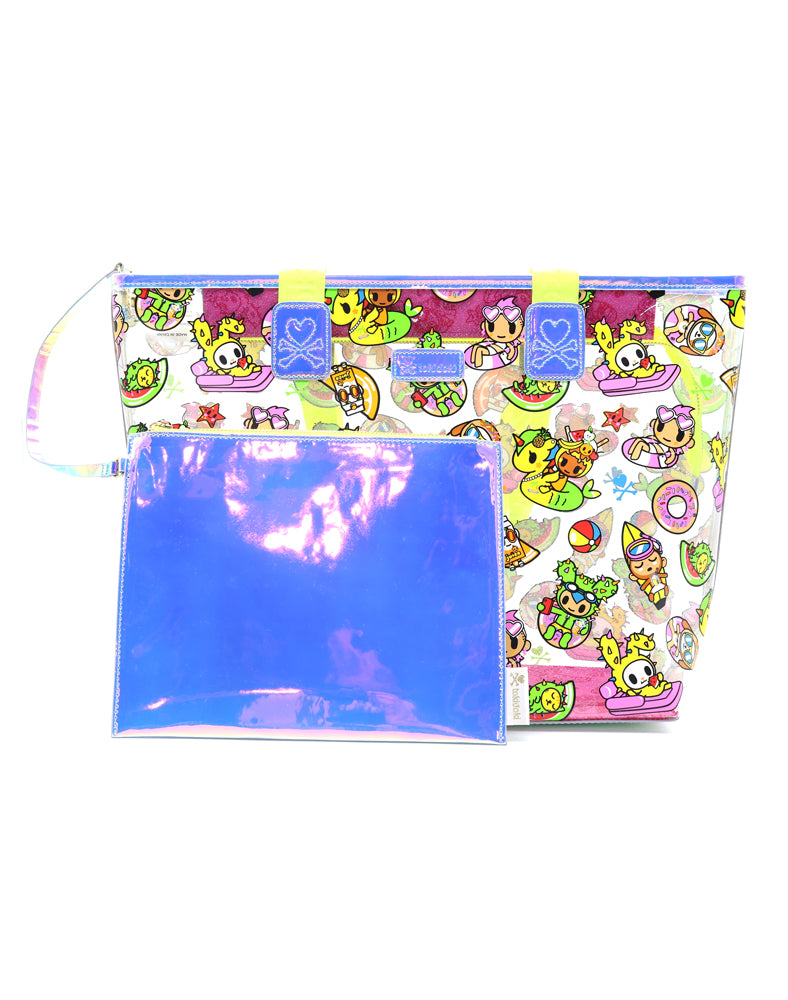 Pool Party Clear Beach Tote Back