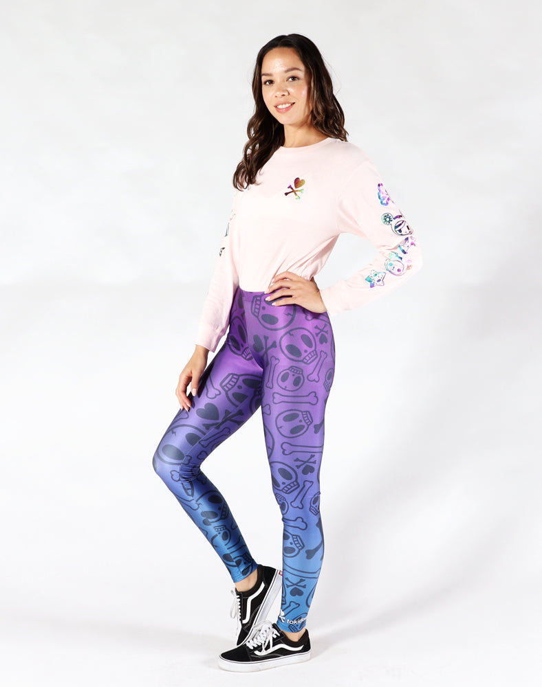 Crossbones Leggings - Purple Front 1
