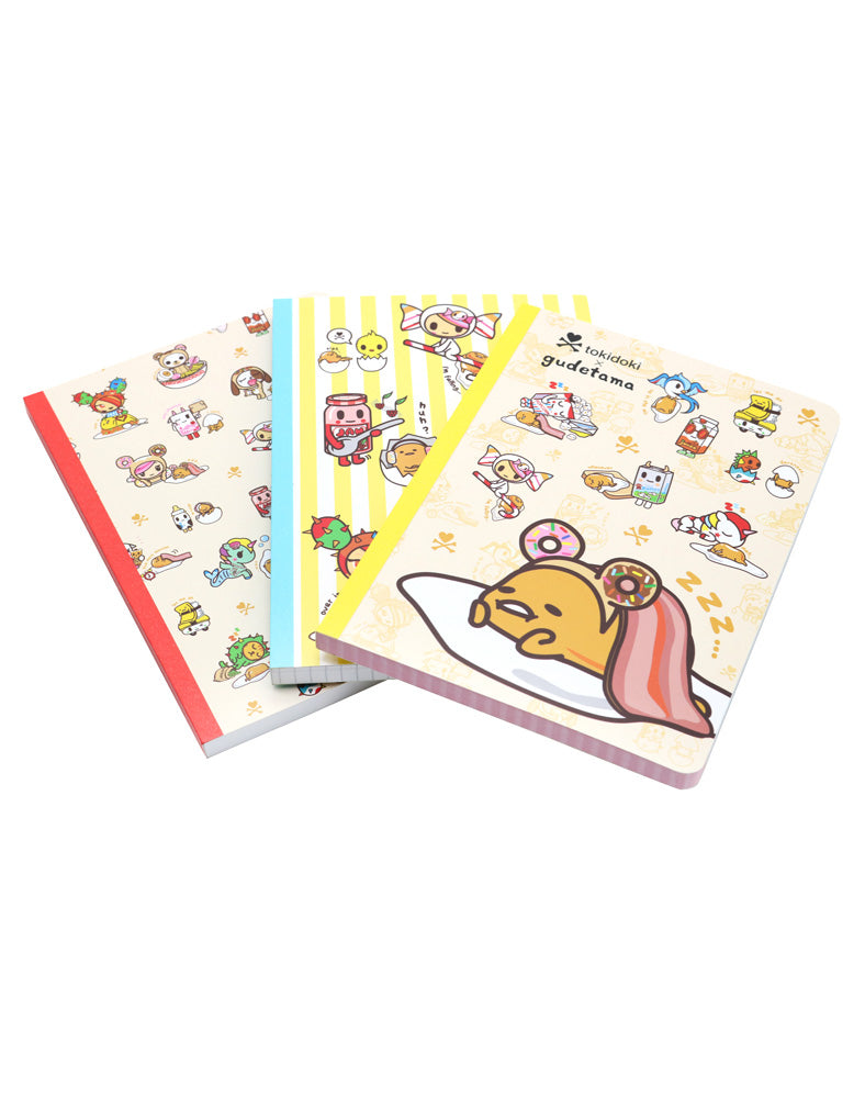 tokidoki x gudetama Notebook Set above front covers