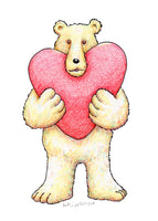 A Bear With A Big Heart, a greeting card showing a cute bear holding a big heart