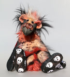 Skully is a kooky, funky and funny one of a kind artist bear in denim, faux fur, mohair and printed cotton by Barbara Ann Bears Skully stands 15 inches( 38 cm) tall and is 11 inches (28 cm) sitting. Skully is a wild and artistic bear and can at times be outrageous, she is a pirate at heart after all.