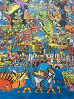 The 'Where's Wally' fabric depicitng a coastal town being overrun by seamonsters we used to make Wally