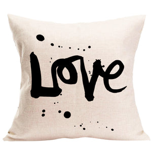 Passion For Romance | LOVE Letter Square Pillow Cover Cushion Case Pillowcase Zipper Closure