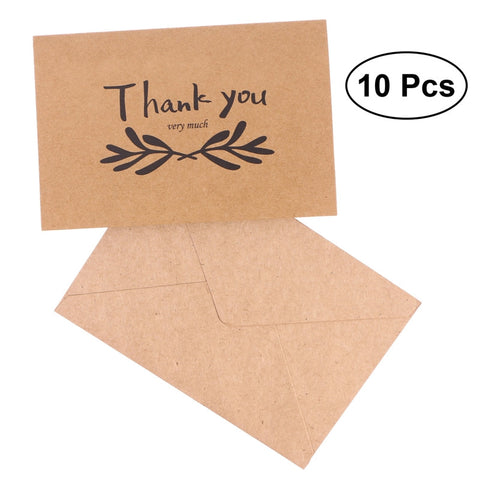 Passion For Giving: 10pcs Kraft Paper THANK YOU Cards Folding Greeting Card Vintage Wedding Favor Card (18)
