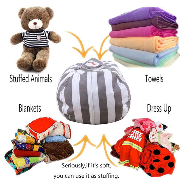 Passion for Decor | New Creative Modern Storage Stuffed Animal Storage Bean Bag Chair Portable Kids Clothes Toy Storage Bags
