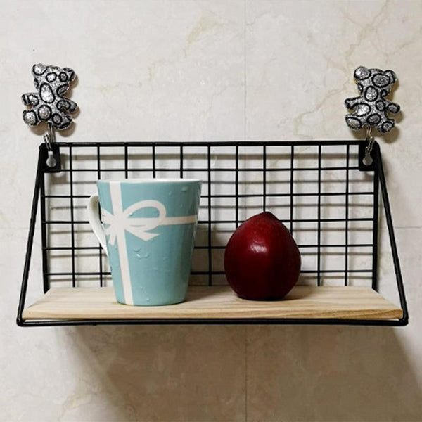 Passion for Decor | Wooden Iron Wall Shelf Wall Mounted Storage Rack Organization For Bedroom Kitchen Home Decor Kid Room DIY Wall Decoration Holder
