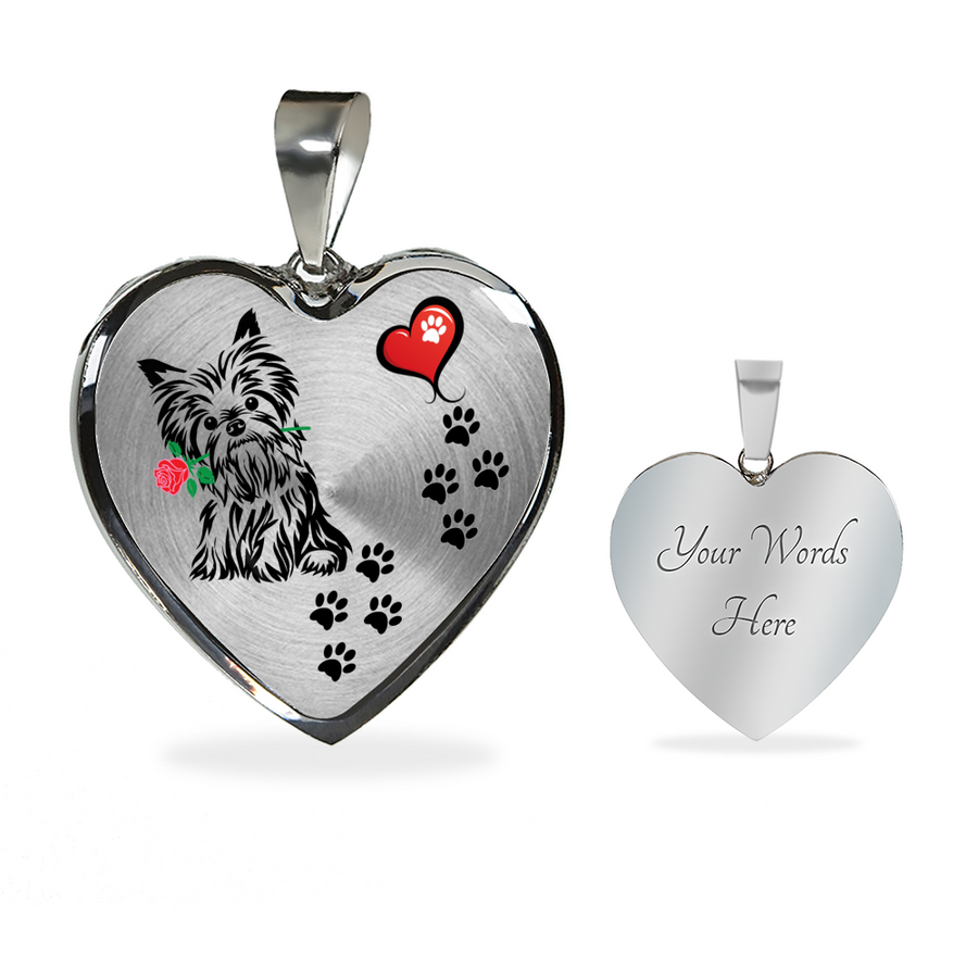 Awesome Yorkie with Rose and Paw Prints Leading To Your Heart Adjustable Luxury Necklace or Bangle - Yorkshire Terrier