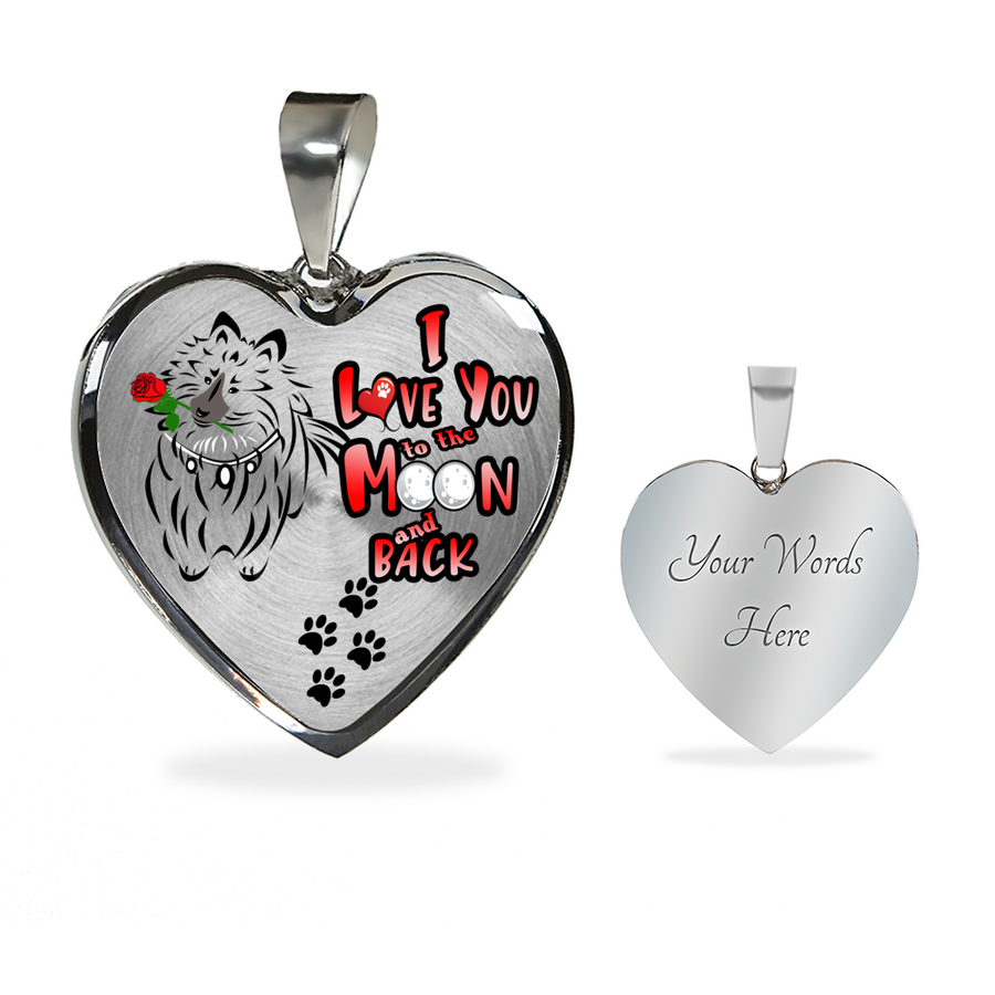Shetland Sheepdog - I Love You To The Moon and Back - With Rose and Paw Prints - Luxury Adjustable Necklace or Bangle