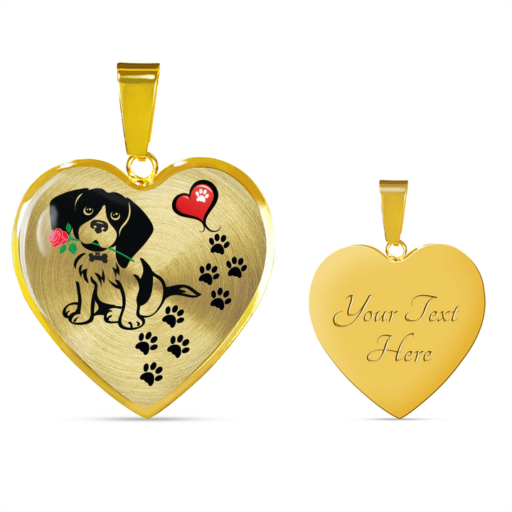 Awesome Beagle with Rose Paw Prints Leading To Your Heart Adjustable Luxury Necklace or Bangle
