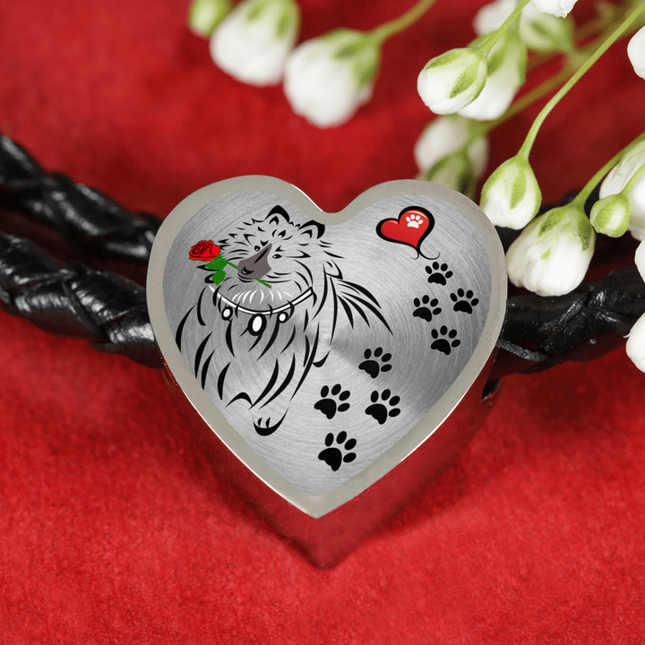 Awesome Love Shetland Sheepdog with Paw Prints, Heart and Rose Real Leather Charm Bracelet