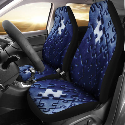 Autism Blue Puzzle Universal Car Seat Cover (Set of 2)