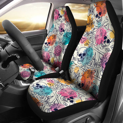 Skulls Colorful Universal Car Seat Covers (Set of 2)