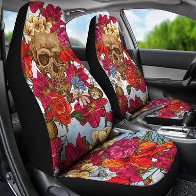 Skull with Flowers Universal Car Seat Covers (Set of 2)