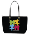 Autism Awareness 4-Piece Puzzle Leather Tote Bag (Large) - Black