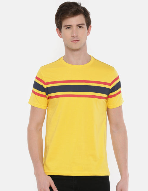 Men's Yellow Navy Striped Crew Neck T-shirt
