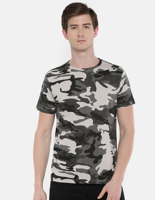 Men's Grey Water Repellent  Camo Crew Neck T-shirt