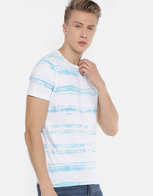 Men's White Striped Crew Neck T-shirt