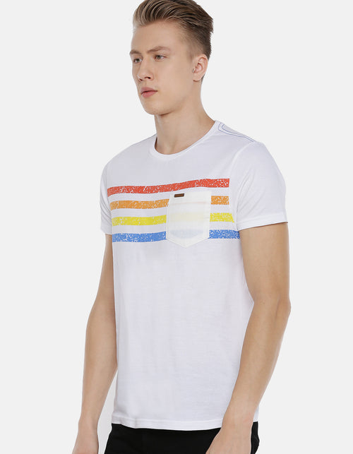 Men's Multi-Color Striped Crew Neck T-shirt