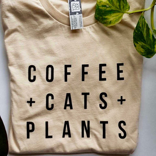 Coffee Cats Plants T-shirt